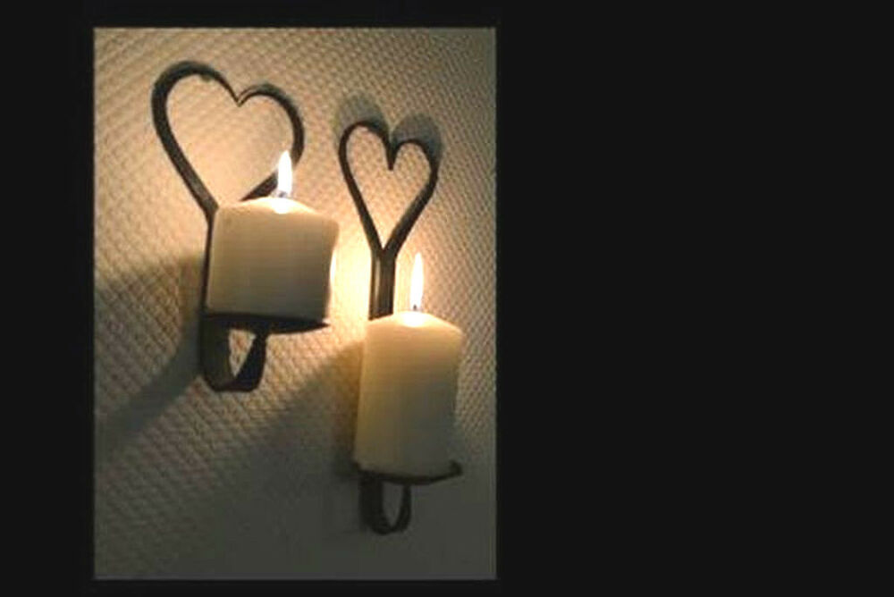 Black Hand Forged Iron Blacksmith Made Wall Mounted Candle ...