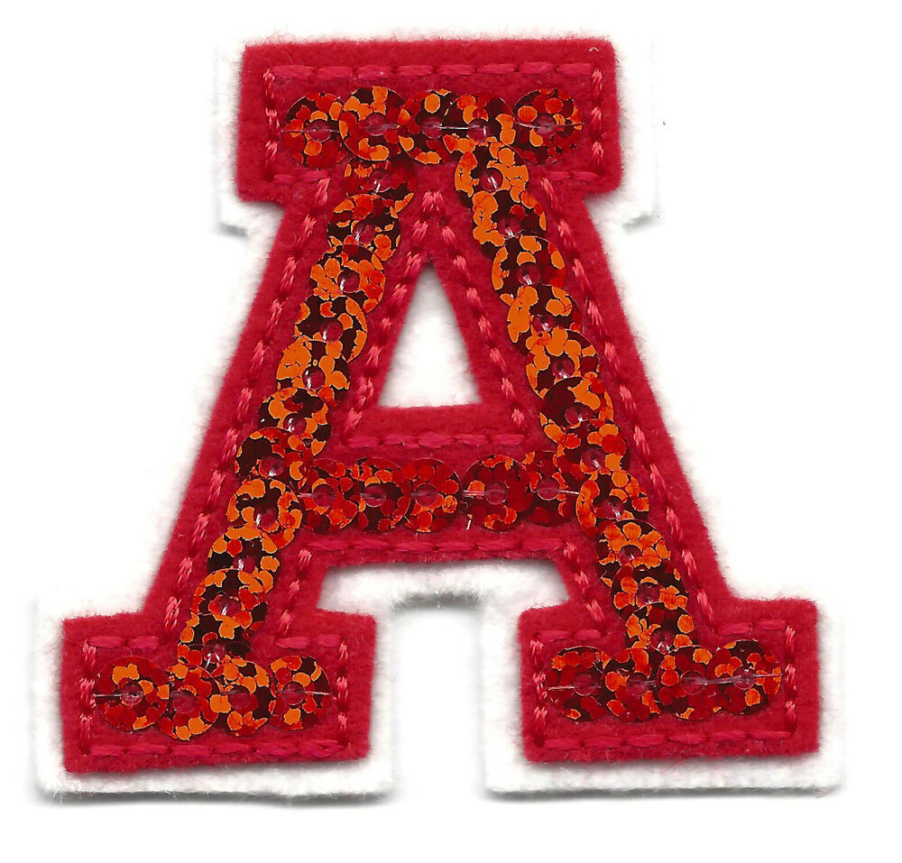 "Letters Red Sequin 2"" Letter ""A"" Iron on Embroidered Applique 
