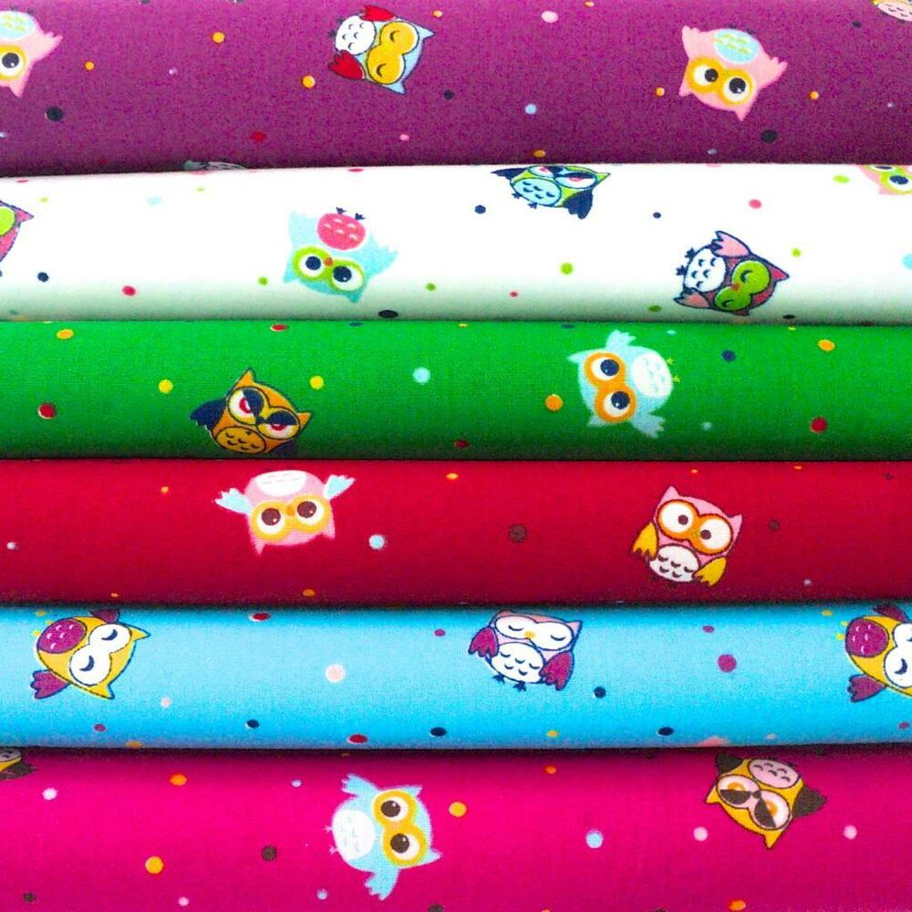 Mini owls novelty bright kids children animal dotty poly for Kids cotton fabric