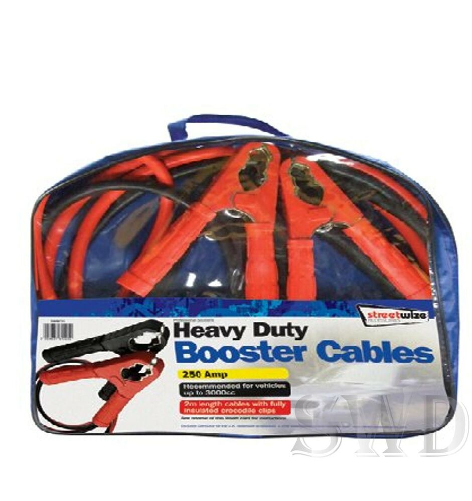 2m Long Booster Cables Car Battery Jump Start Leads Jumper