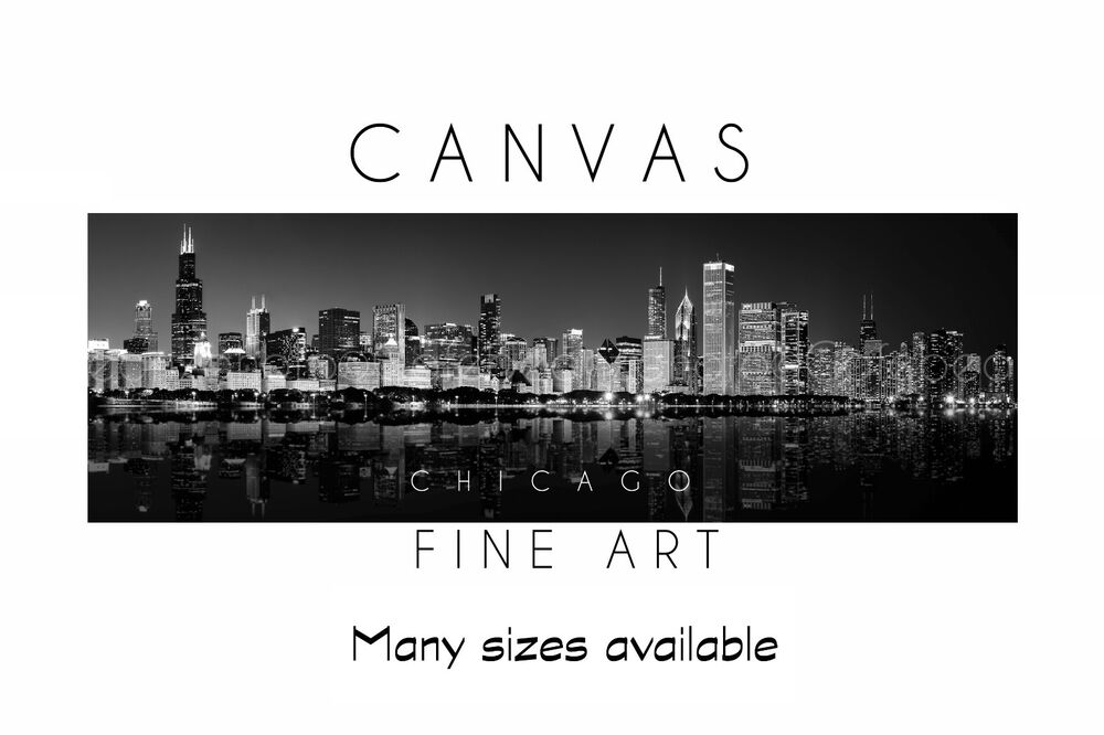 Chicago Skyline Wall Art wall art canvas print chicago skyline black white panoramic poster