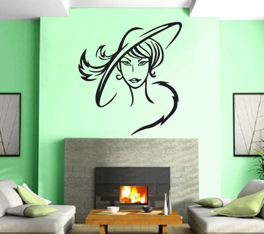 Hair beauty salon sexy hot lady in hat girl wall art decor for Girls wall art