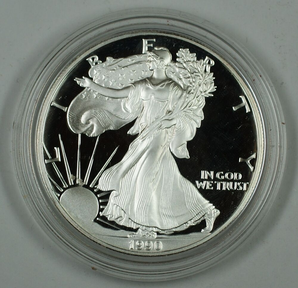 1990 Proof American Eagle Silver Dollar Coin 1 Troy Oz