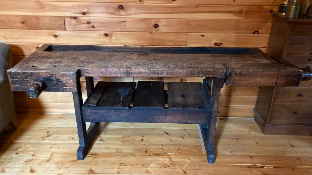Antique late s carpenters woodworkers wood bench