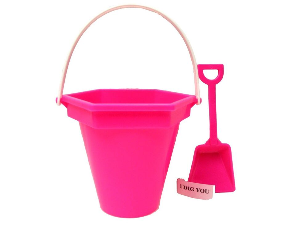 Small pink beach sand buckets shovels i dig you