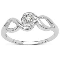 9CT WHITE GOLD 0.03CT DIAMOND SOLITAIRE ENGAGEMENT RING WITH SPLIT SHOULDERS