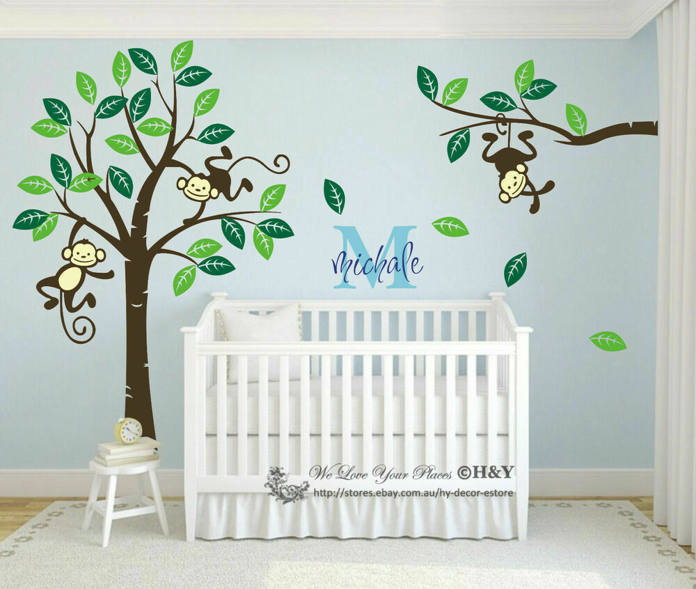 4 Cute Monkeys Wall Decals Sticker Nursery Decor Mural: Custom Personalised Name Monkey Tree Wall Art Stickers