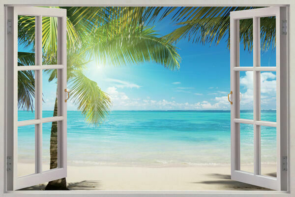 3D Sunshine Beach Window View Removable Wall Art Stickers ...