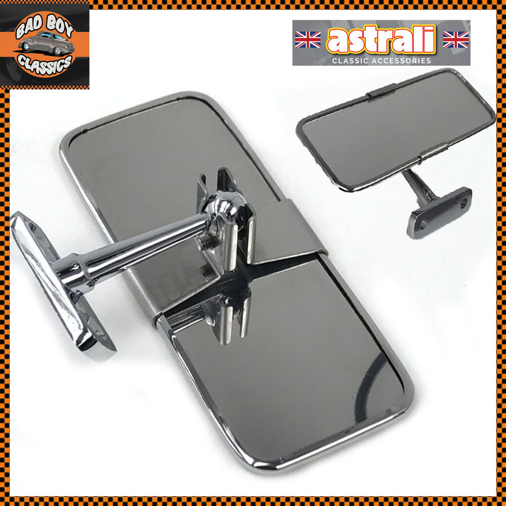 stainless steel universal rear view mirror interior kit car hot rod ebay. Black Bedroom Furniture Sets. Home Design Ideas