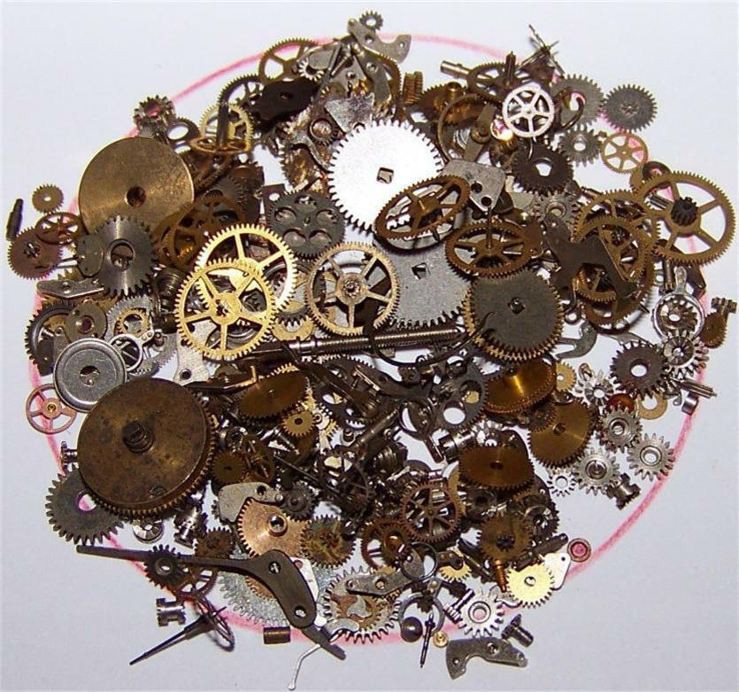 Antique Wheels And Gears : Grams old gears mix steampunk watch parts pieces