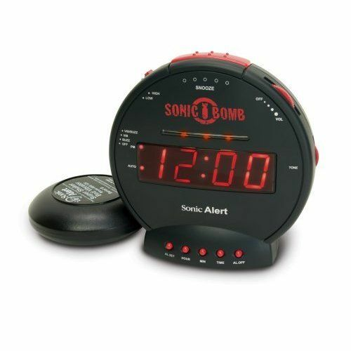 Sonic boom alarm clock with bed vibrator