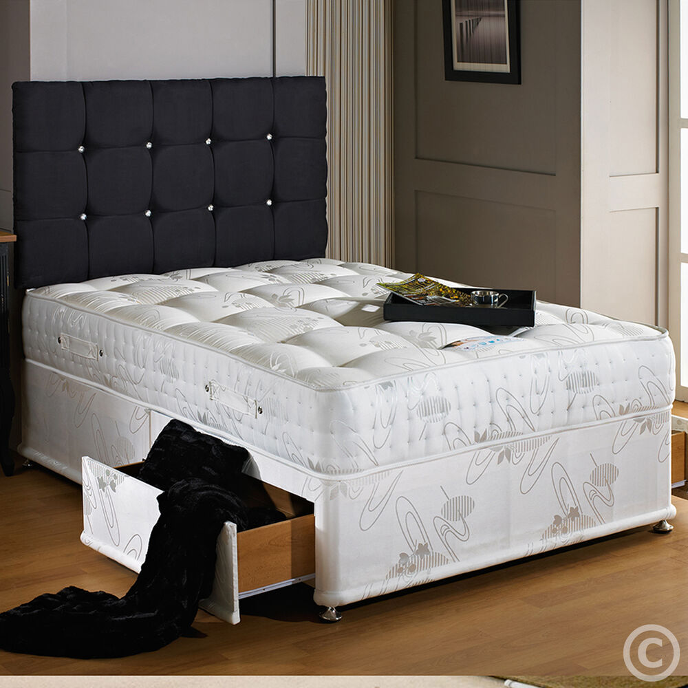 Sale hf4you 3000 pocket sprung memory foam divan bed set for Memory foam double divan bed sale
