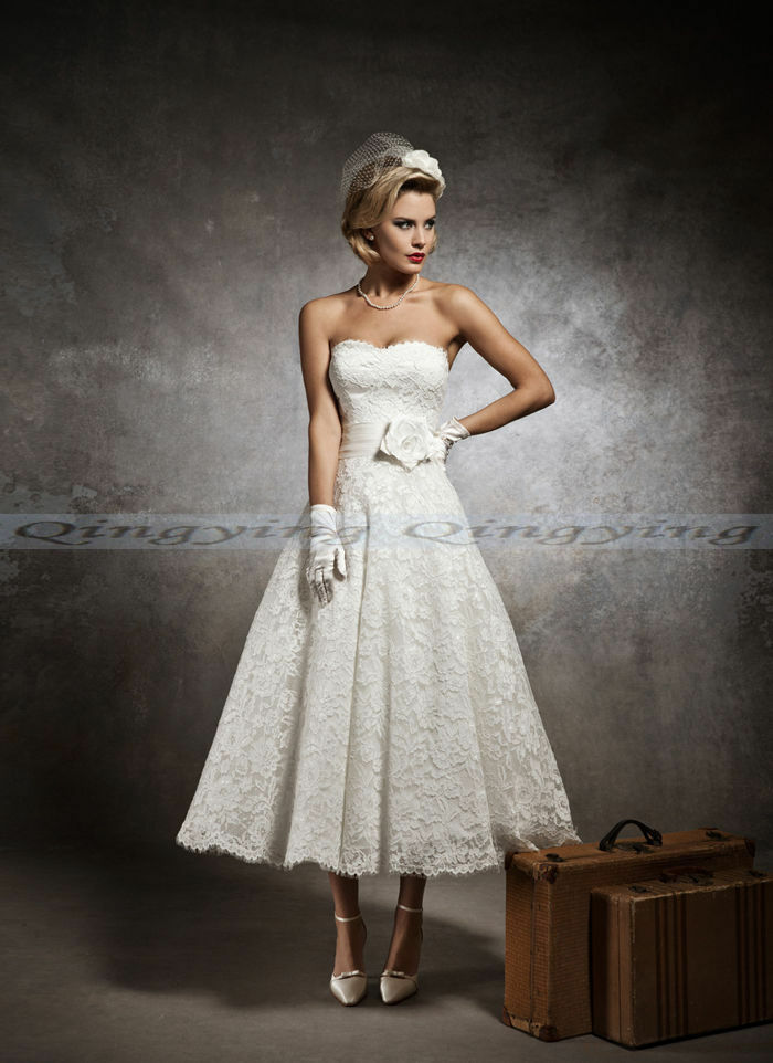Stock new white ivory lace short wedding dress bridal gown for White or ivory wedding dress