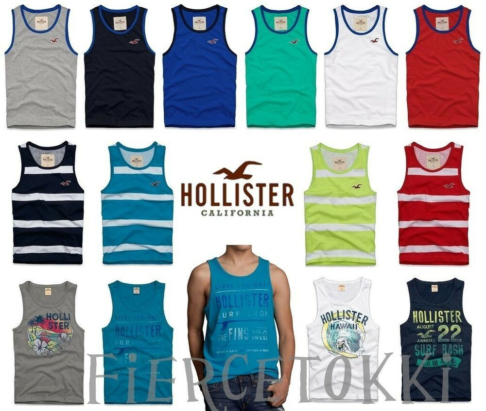 Hollister by Abercrombie Mens Muscle Tank T Shirt La Costa Orange ...