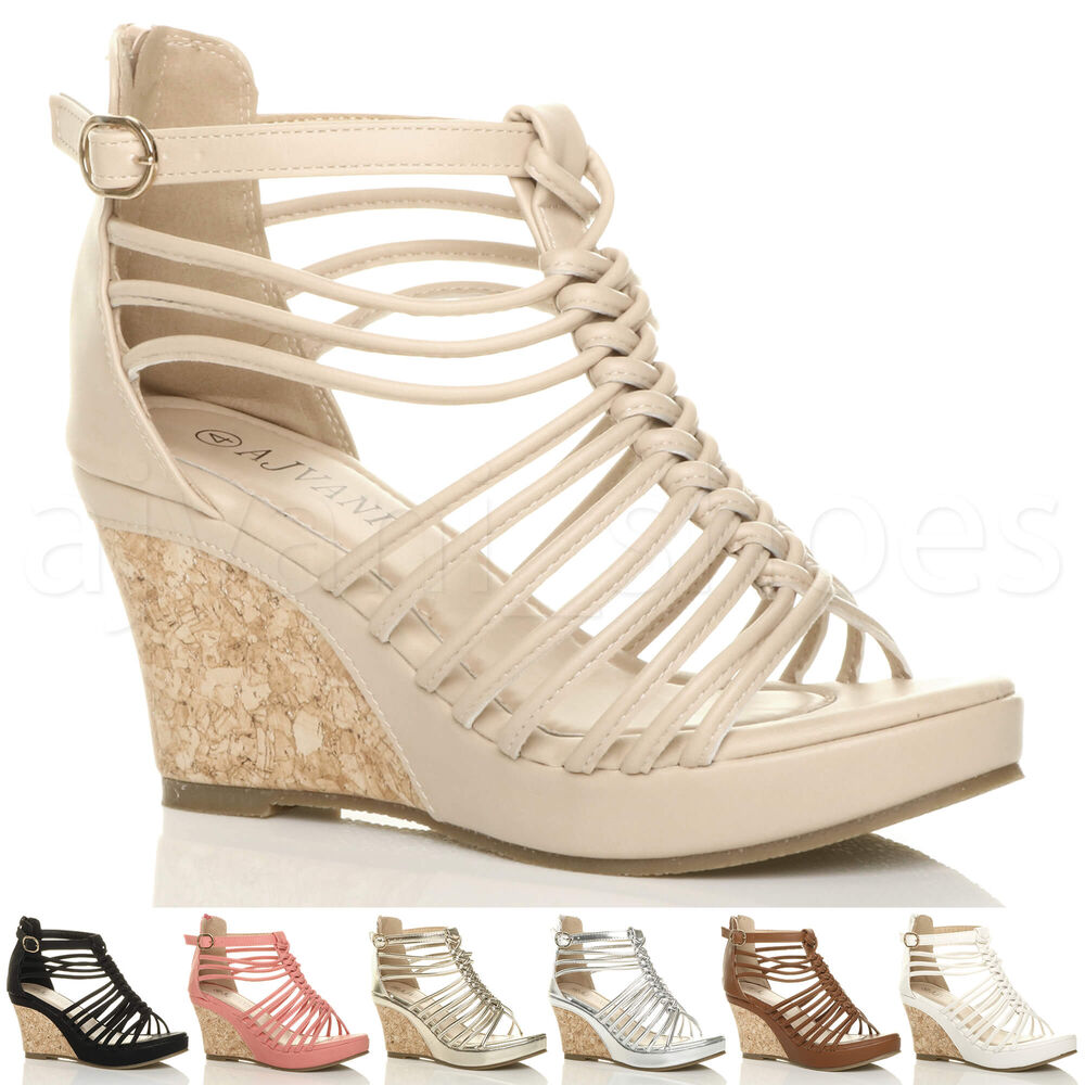 Fantastic Womens Wedge Rope Gladiator Low Heel Gold Trim Sandals Shoes Shu Size