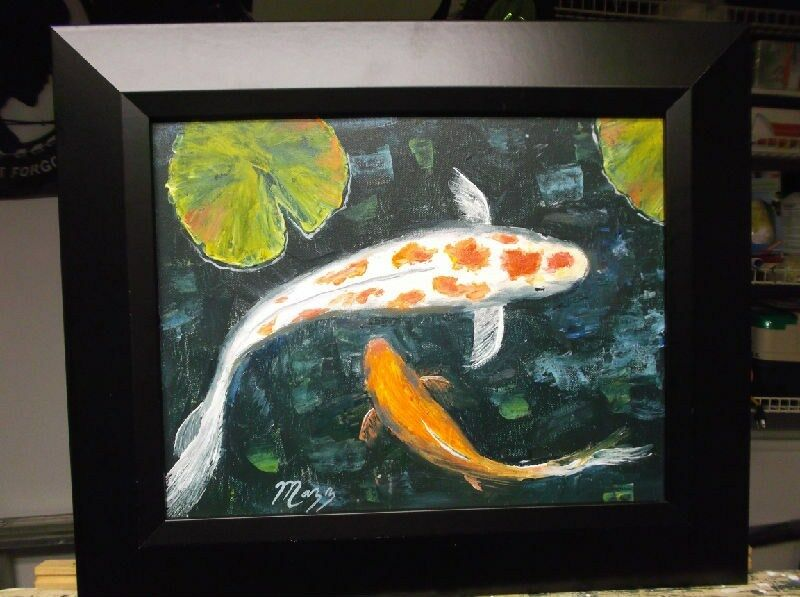 Swimming koi fish lily pads painting wide black frame for Koi fish for sell