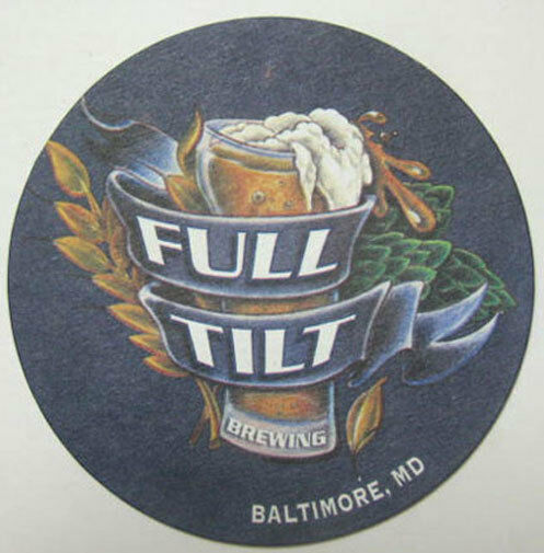 Full tilt brewing beer coaster mat baltimore maryland for Union craft brewing baltimore md