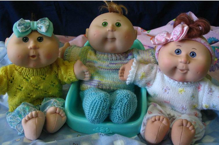 Knitting Pattern For Cabbage Patch Doll Clothes : KNITTING PATTERN BOOKLET - Jumpers for 11 & 14in Cabbage ...