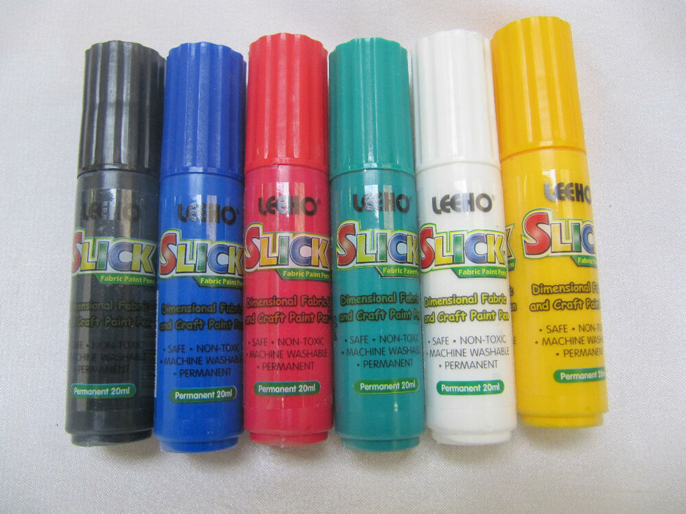 6x leeho slick fabric paint pens ebay