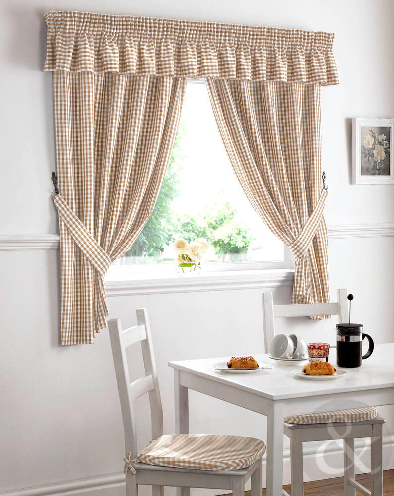 Gingham Check Kitchen Curtains Natural Beige Ready Made Pencil Pleat Net Curtain Ebay