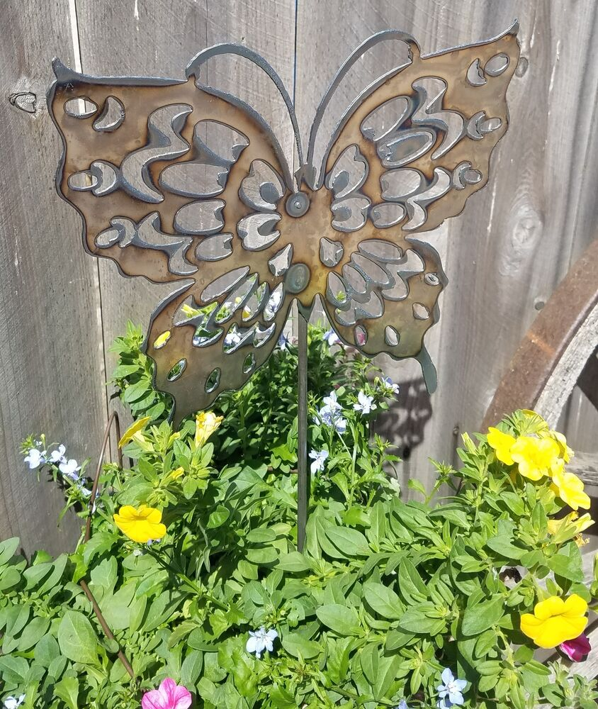 butterfly metal garden stake ebay. Black Bedroom Furniture Sets. Home Design Ideas