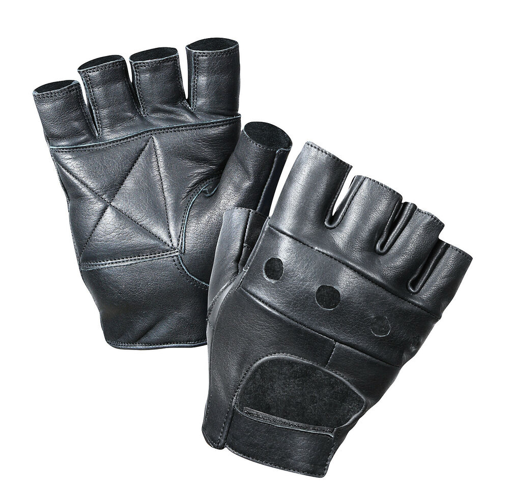 Gloves With Fingertips Out: Fingerless Leather Biker Gloves -Leather Finger-Less