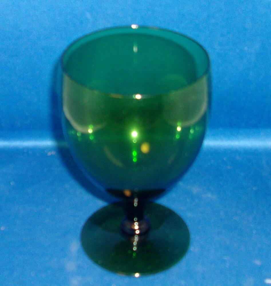Vintage Emerald Green White Wine Glass Water Goblet Good