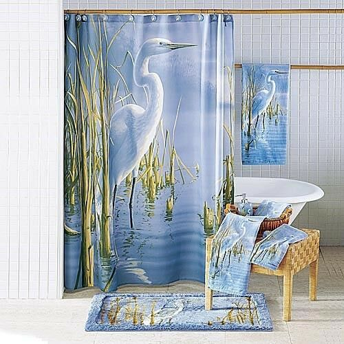 Bird marsh grass fabric bathroom shower curtain bath decor ebay