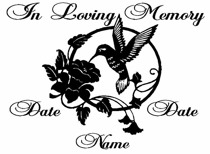 "In Loving Memory Car Decals >> In Loving Memory Hummingbird Decal*********version 1 (9"" WIDE 6"" TALL 