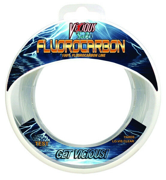 Vicious clear salt fluorocarbon fishing line 110 yards for Fluorocarbon fishing line