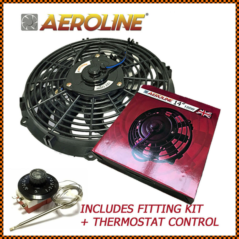 14 aeroline electric radiator 120w 12v cooling fan thermostat classic car ebay. Black Bedroom Furniture Sets. Home Design Ideas