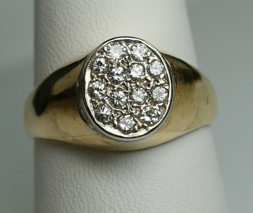 Men S 14k Solid Yellow Gold Diamond Cluster Ring 33ct Si2