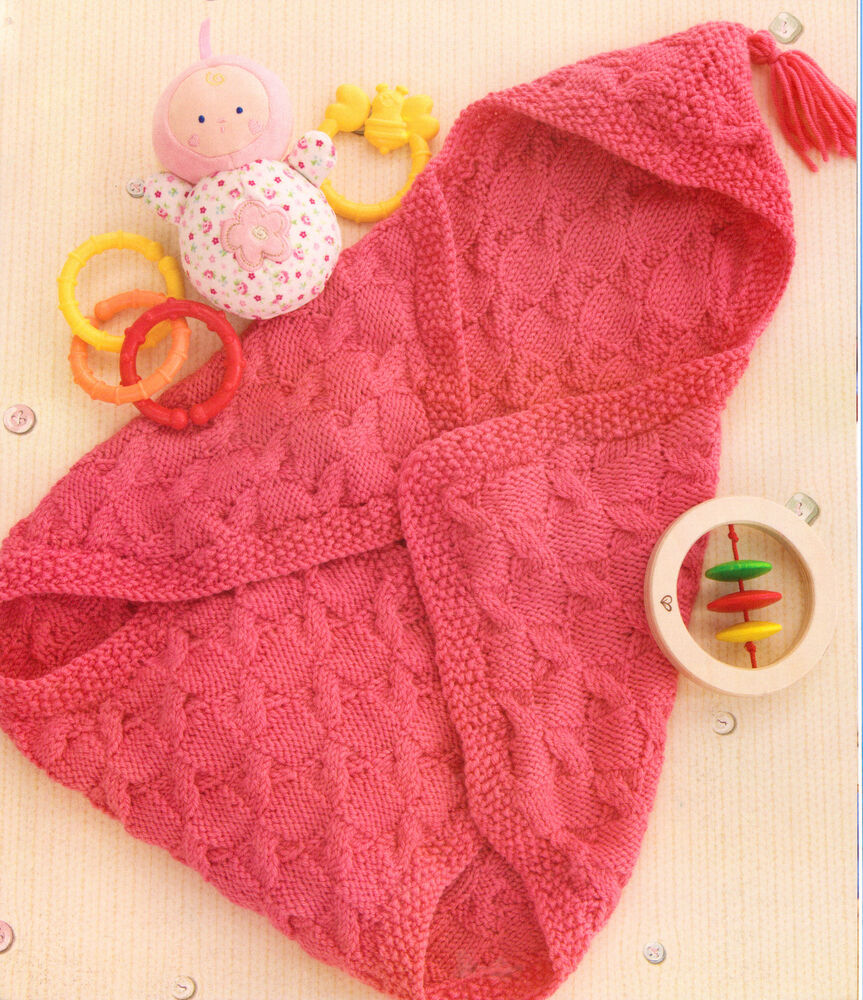 Baby Bunting Bag Knitting Pattern : Baby Sleeping Bag/Bunting Wrap Blanket~ Cable Pattern~ Hood ~ ~ Knitting Patt...