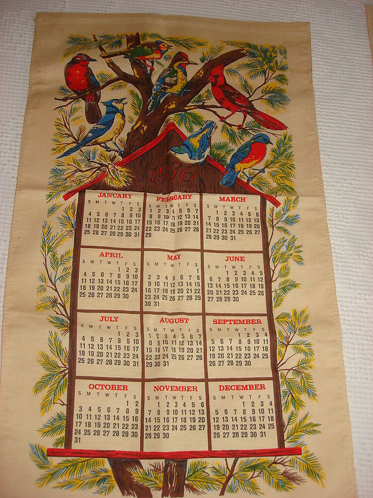 Vintage Linen 1976 Calendar Towel Bright Colored Birds Ebay