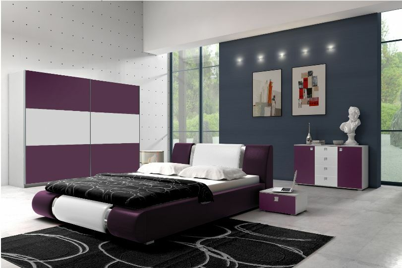 high gloss king size bedroom furniture set wardrobe bed 39 iva 5