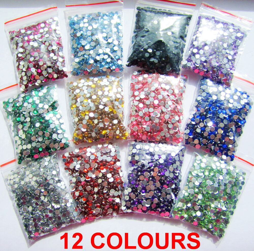 1100pcs Crystal Flat Back Acrylic Rhinestones Gems 3mm