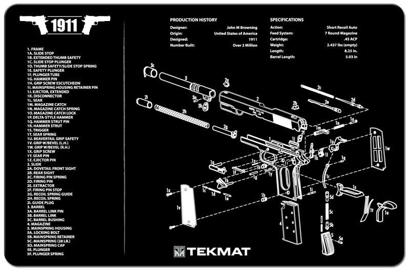 New 1911 Handgun Tekmat Gun Cleaning Mat 11 Quot X17 Quot With