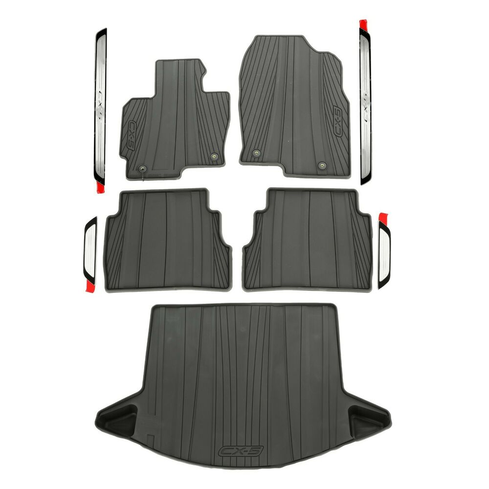 2013 2016 mazda cx 5 all weather floor mats cargo tray sill plates oem new ebay. Black Bedroom Furniture Sets. Home Design Ideas