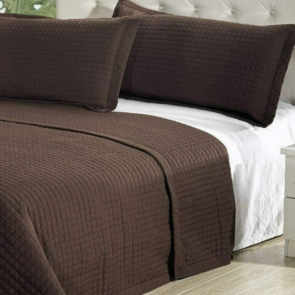 Modern Solid Chocolate Brown Coverlet Quilt Bedding Set