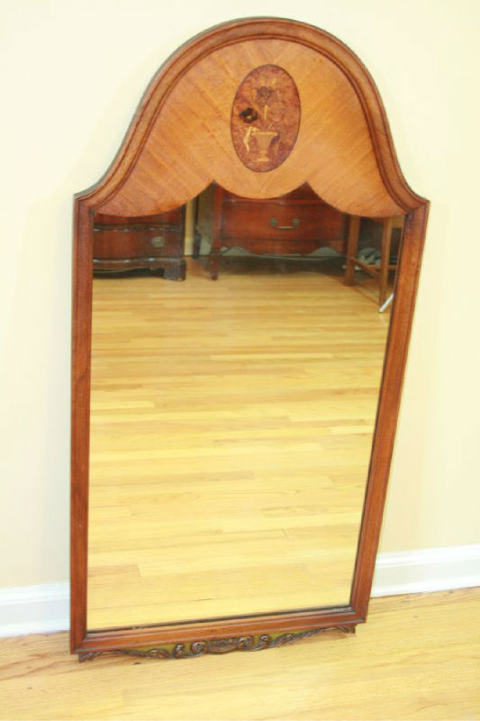 Antique Wood Inlaid Amp Carved Wall Mirror Brown 1920 1940