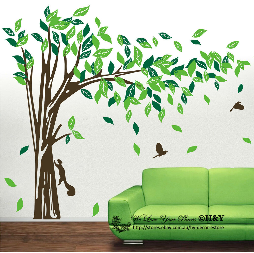 jungle tree removable wall art stickers kids nursery vinyl. Black Bedroom Furniture Sets. Home Design Ideas