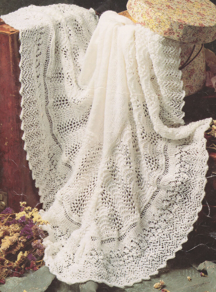 Knitting Pattern For Round Baby Shawl : Gorgeous Lacy Baby Shawl 3 ply~ 48
