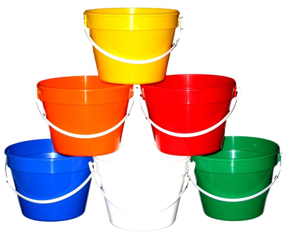 12 1 Gallon Plastic Buckets 2 Ea Red Yellow Green Blue