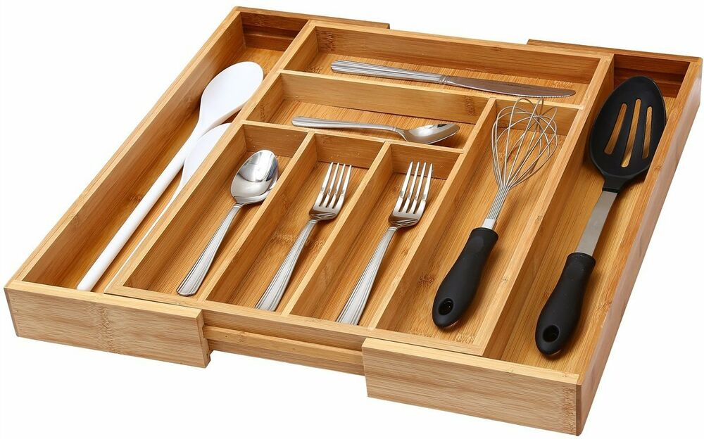 kitchen drawer organizers wood expandable cutlery tray rubberwood 32 58 cm kitchen drawer 4726