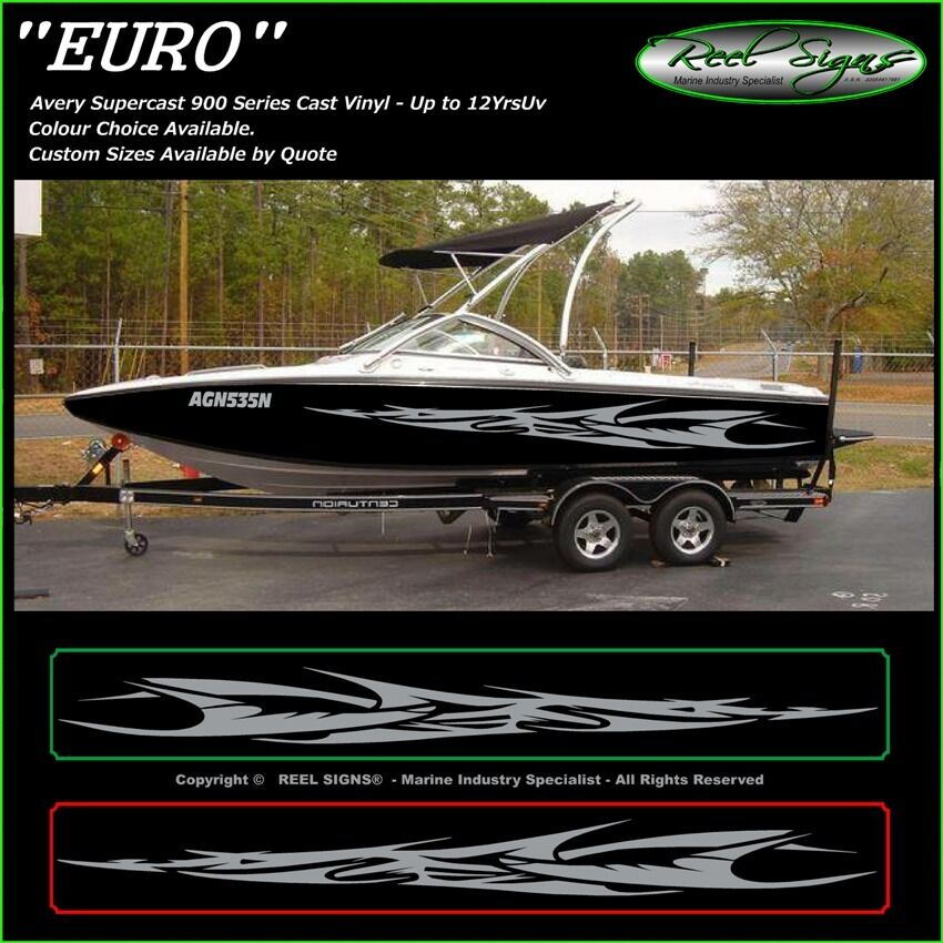 BOAT GRAPHICS DECAL STICKER KIT EURO MARINE CAST VINYL EBay - Boat decalsboat graphics boat decals vinyl stickers for boats xtreme