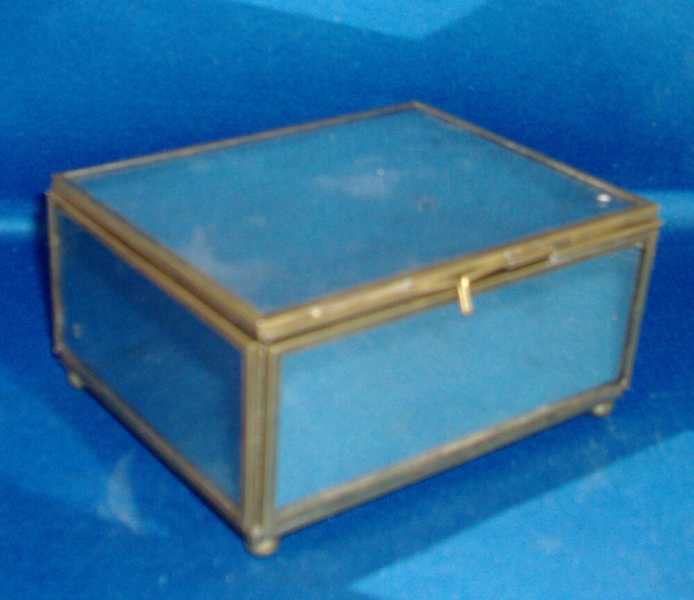 vintage art deco mirrored metal table box for desk or jewelry ball feet mirror ebay. Black Bedroom Furniture Sets. Home Design Ideas
