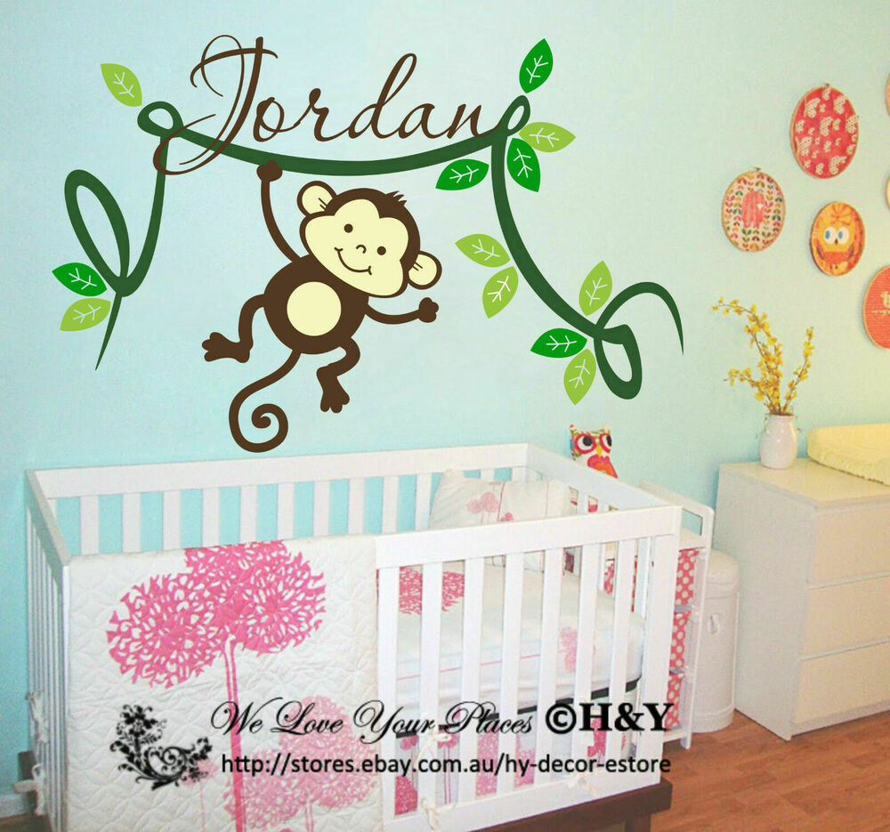 4 Cute Monkeys Wall Decals Sticker Nursery Decor Mural: Personalised Kids Name Cheeky Monkey Wall Stickers Vinyl