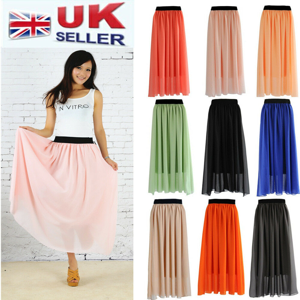 NEW WOMEN LADIES ELASTIC WAIST BAND PLEATED CHIFFON LONG MAXI ...