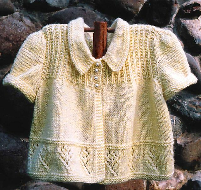 Puff Sleeve Baby Cardigan with Lace Border 6 - 18 mths 4 ply Knitting Pattern...