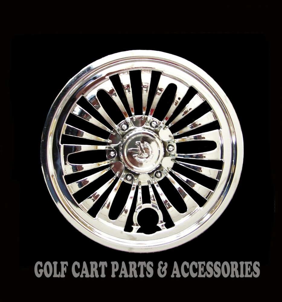 4 Chrome 8 Quot Golf Cart Hub Caps Ezgo Club Car Yamaha